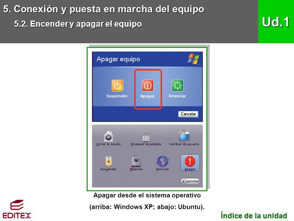 Apagar desde el sistema operativo (arriba: Windows XP; abajo: Ubuntu).