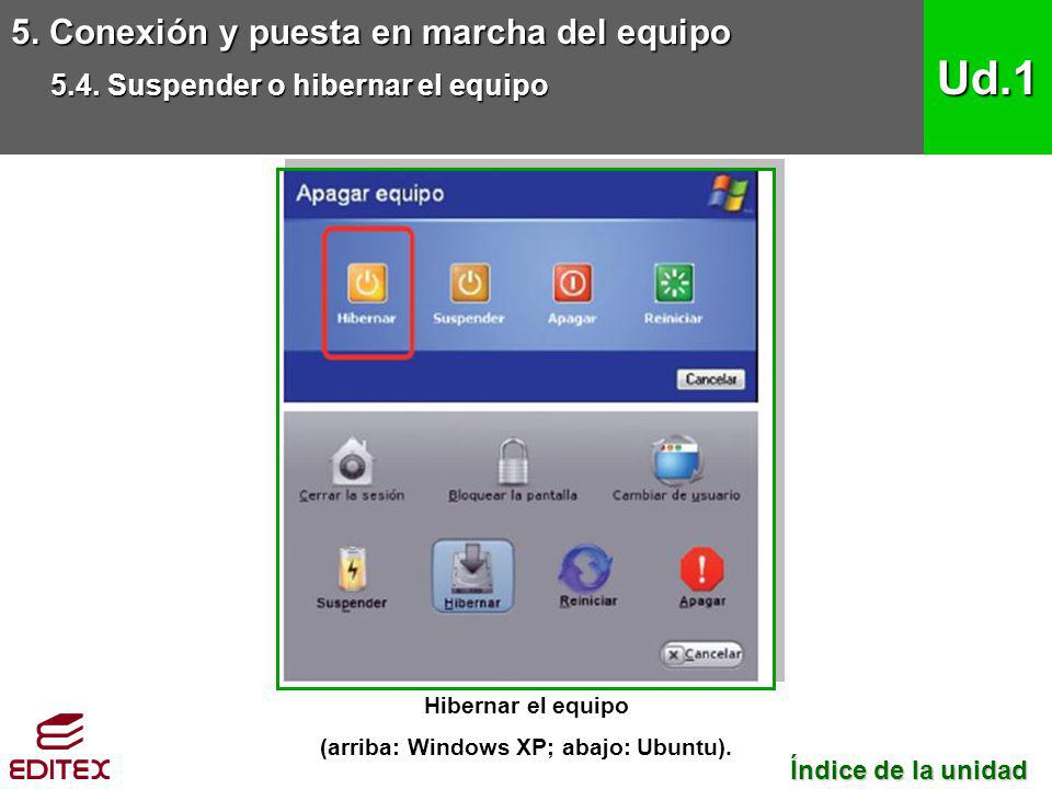 (arriba: Windows XP; abajo: Ubuntu).