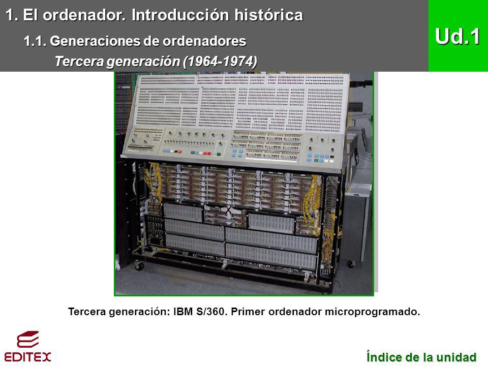 Tercera generación: IBM S/360. Primer ordenador microprogramado.