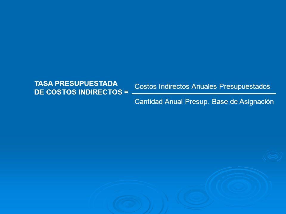 TASA PRESUPUESTADADE COSTOS INDIRECTOS = Costos Indirectos Anuales Presupuestados.