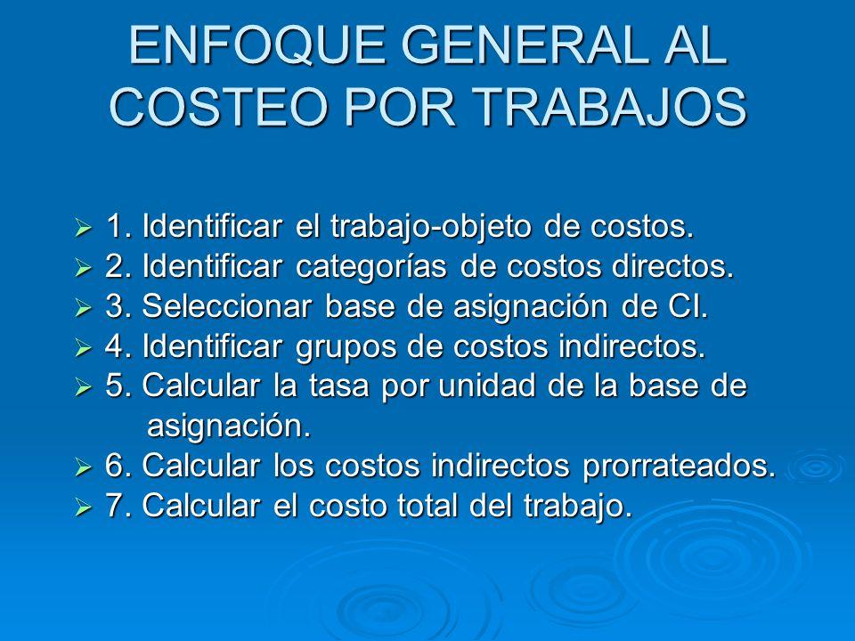 ENFOQUE GENERAL AL COSTEO POR TRABAJOS