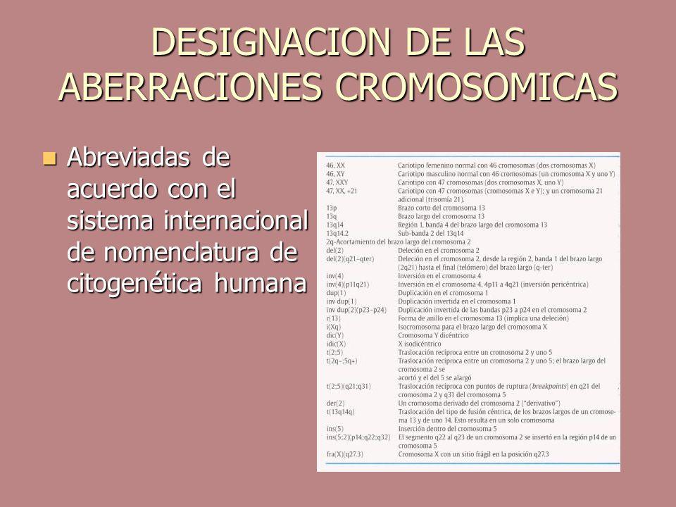 DESIGNACION DE LAS ABERRACIONES CROMOSOMICAS
