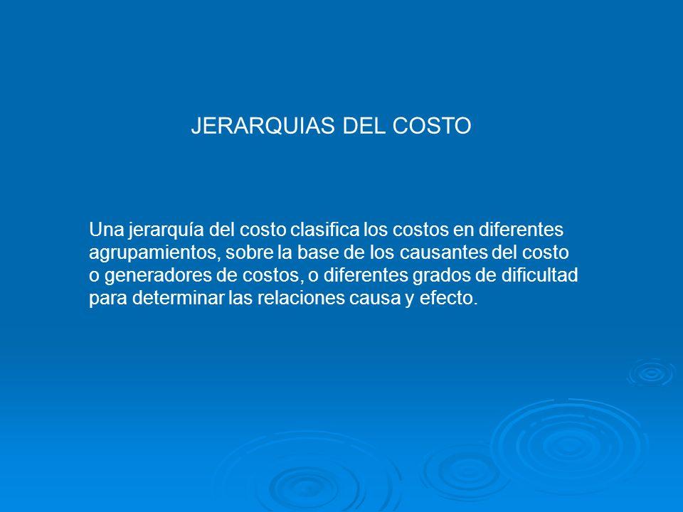 JERARQUIAS DEL COSTOUna jerarquía del costo clasifica los costos en diferentes. agrupamientos, sobre la base de los causantes del costo.