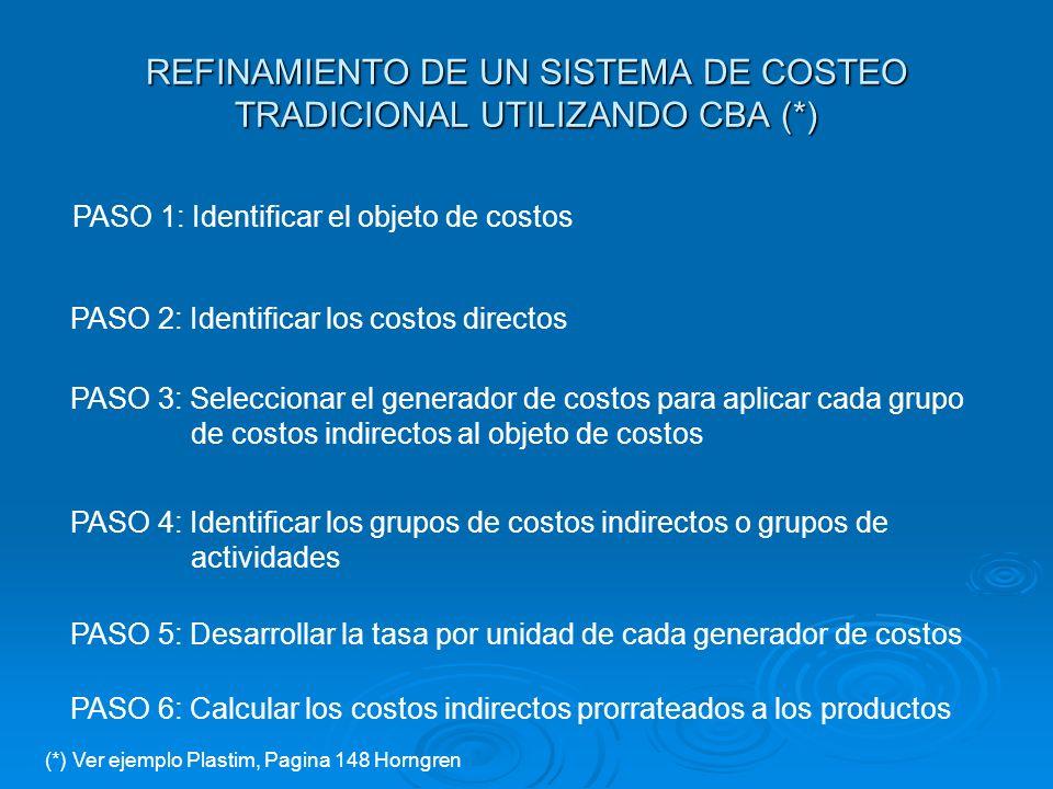 REFINAMIENTO DE UN SISTEMA DE COSTEO TRADICIONAL UTILIZANDO CBA (*)