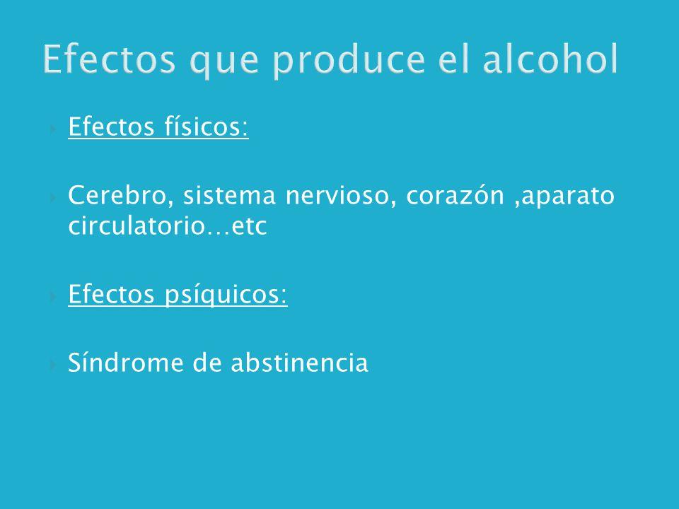 Efectos que produce el alcohol