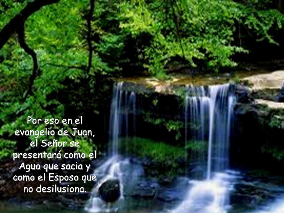 Por eso en el evangelio de Juan, el Señor se presentará como el Agua que sacia y como el Esposo que no desilusiona.