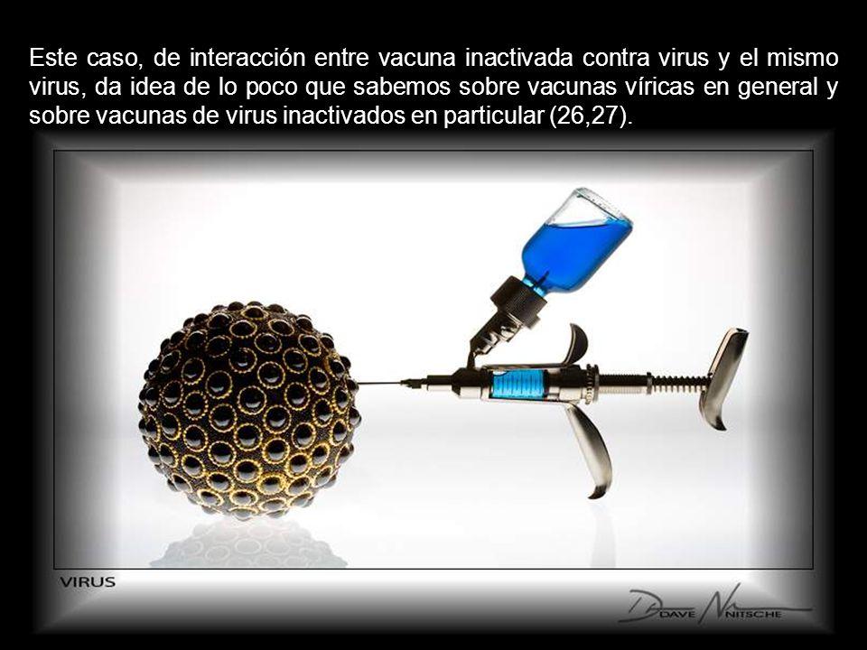 Este caso, de interacción entre vacuna inactivada contra virus y el mismo virus, da idea de lo poco que sabemos sobre vacunas víricas en general y sobre vacunas de virus inactivados en particular (26,27).