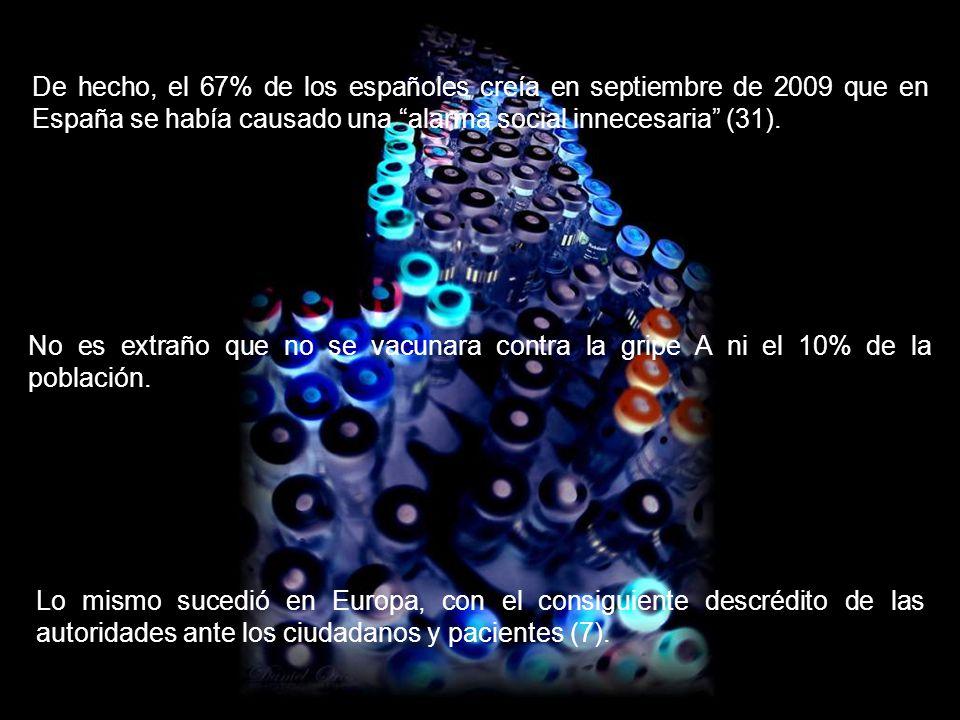 De hecho, el 67% de los españoles creía en septiembre de 2009 que en España se había causado una alarma social innecesaria (31).