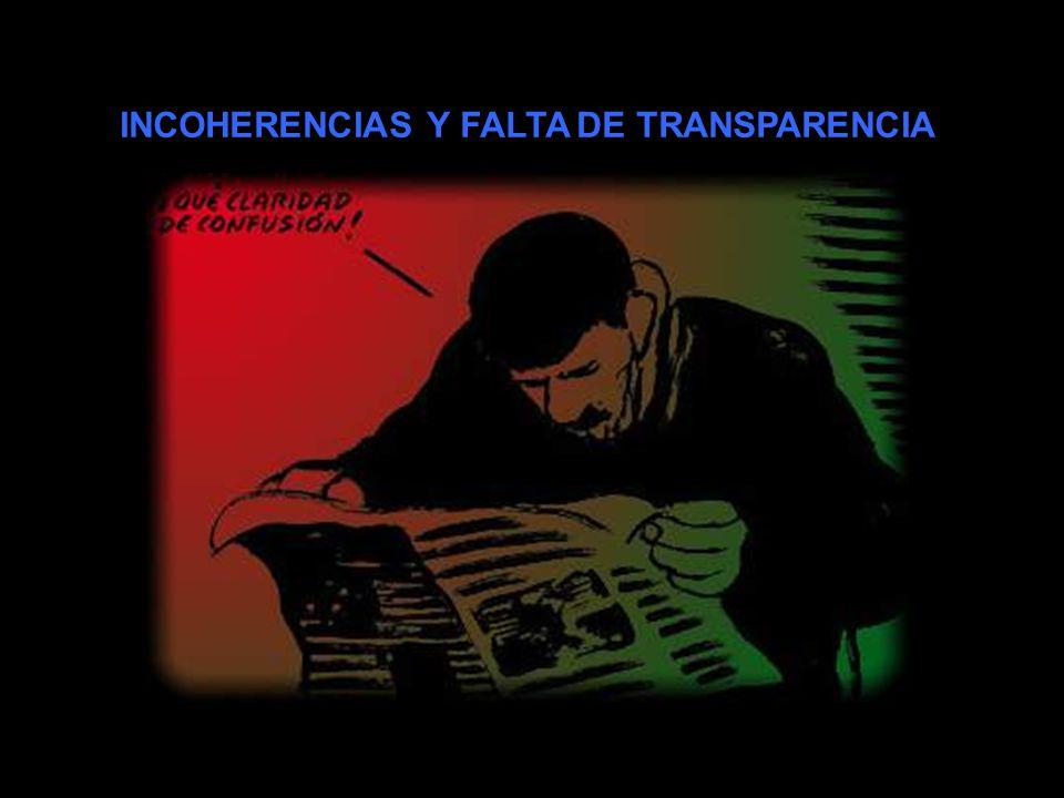 INCOHERENCIAS Y FALTA DE TRANSPARENCIA