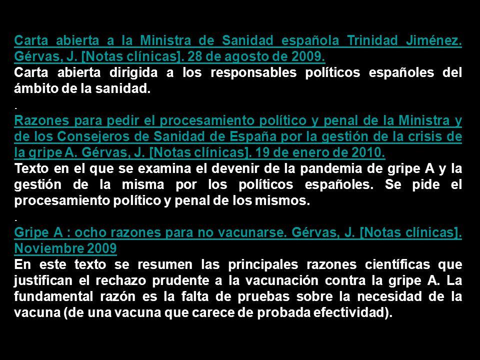 Carta abierta a la Ministra de Sanidad española Trinidad Jiménez