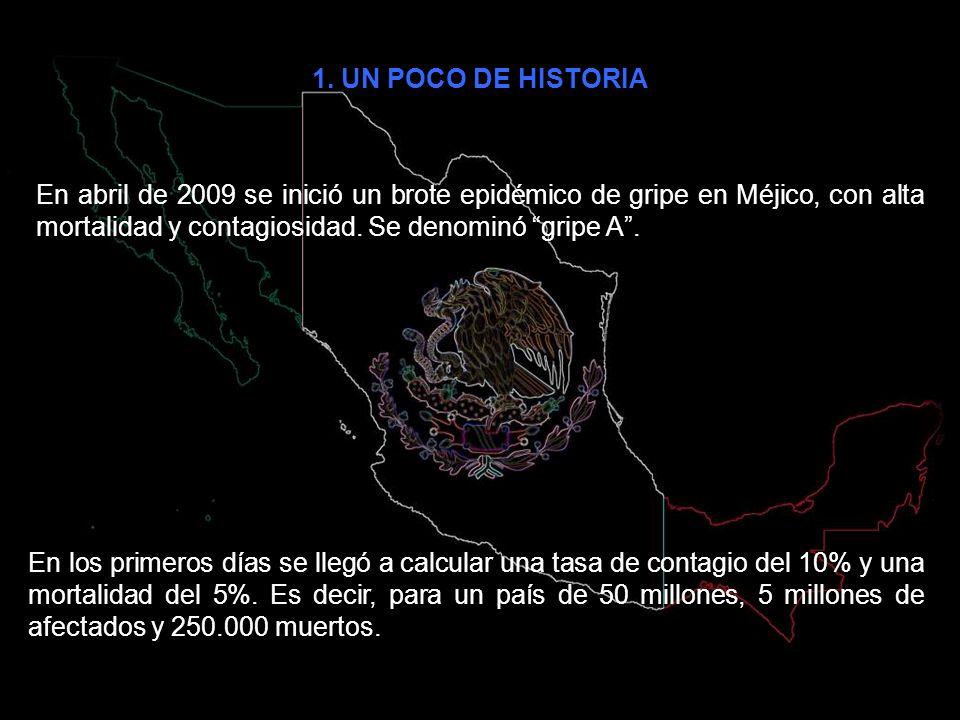 1. UN POCO DE HISTORIA En abril de 2009 se inició un brote epidémico de gripe en Méjico, con alta mortalidad y contagiosidad. Se denominó gripe A .