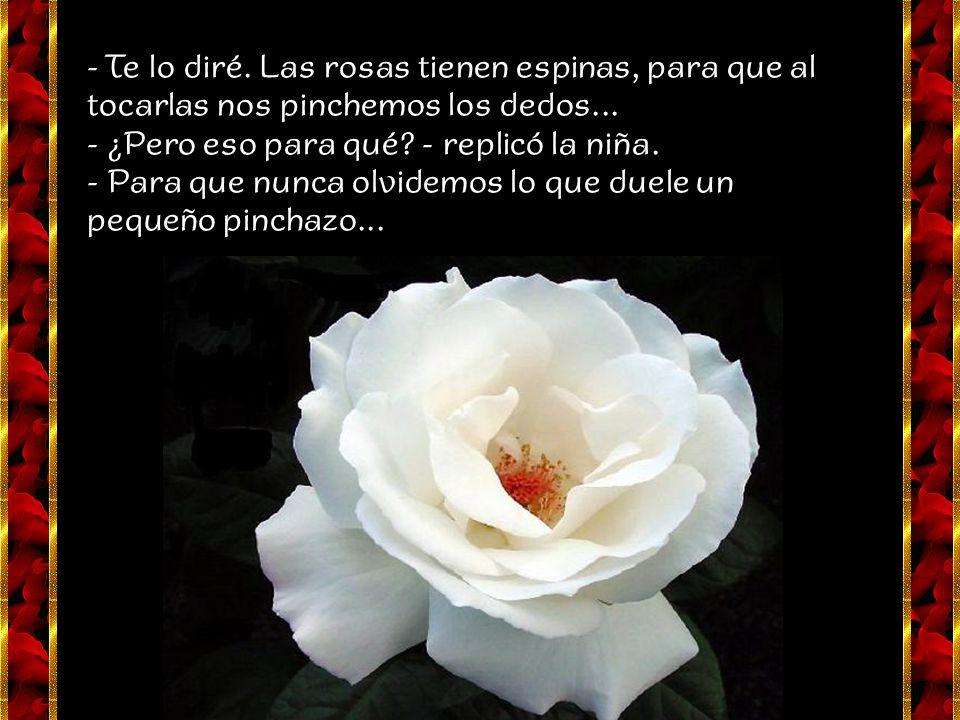 - Te lo diré. Las rosas tienen espinas, para que al tocarlas nos pinchemos los dedos...
