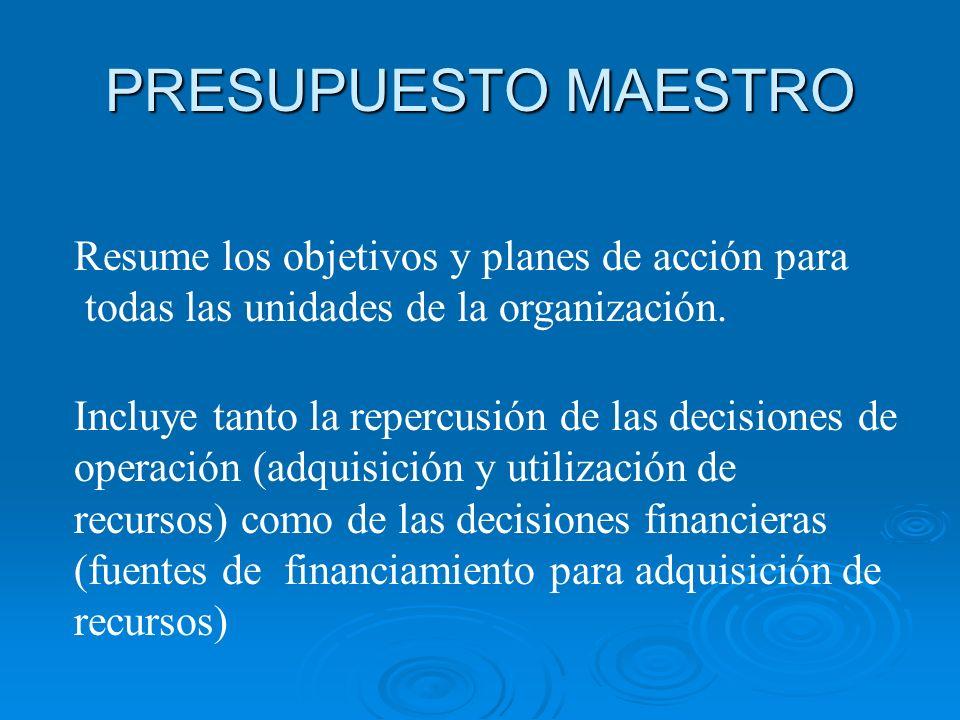 PRESUPUESTO MAESTRO Resume los objetivos y planes de acción para