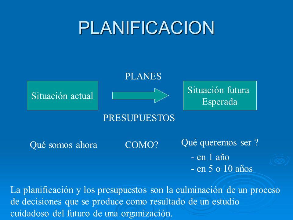 PLANIFICACION PLANES Situación actual Situación futura Esperada