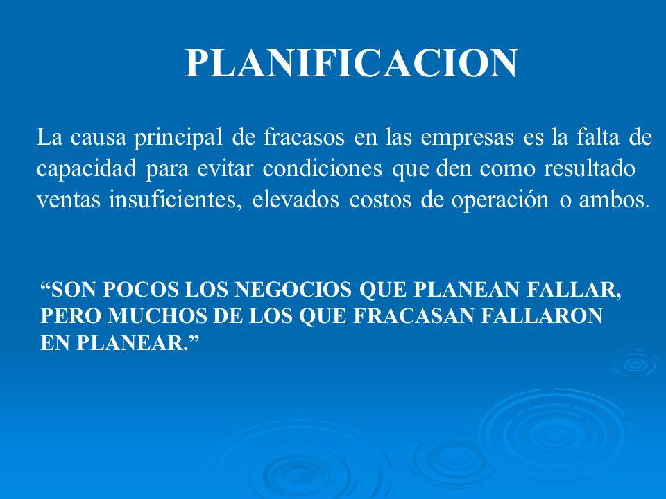 PLANIFICACION La causa principal de fracasos en las empresas es la falta de. capacidad para evitar condiciones que den como resultado.