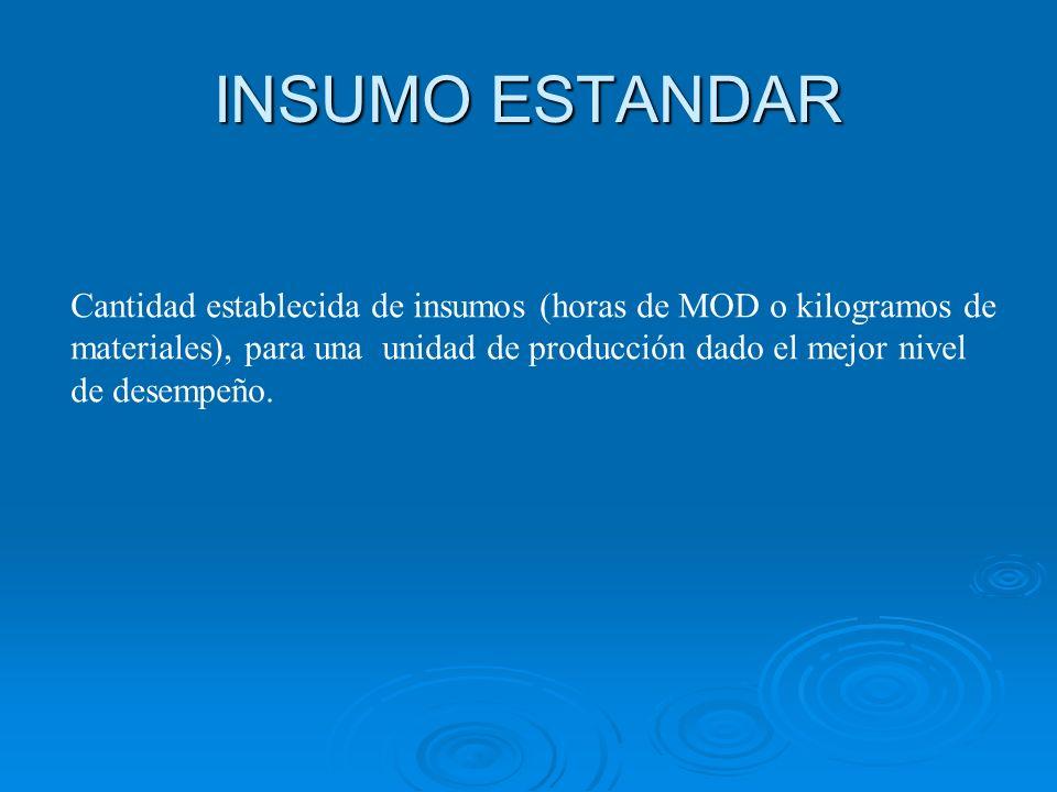 INSUMO ESTANDAR Cantidad establecida de insumos (horas de MOD o kilogramos de. materiales), para una unidad de producción dado el mejor nivel.