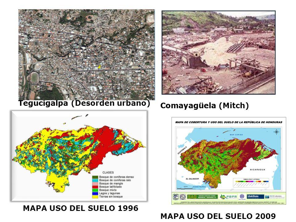 Tegucigalpa Comayagüela. MAPA USO DEL SUELO 1996. La Lima. Tegucigalpa (Desorden urbano) Comayagüela (Mitch)
