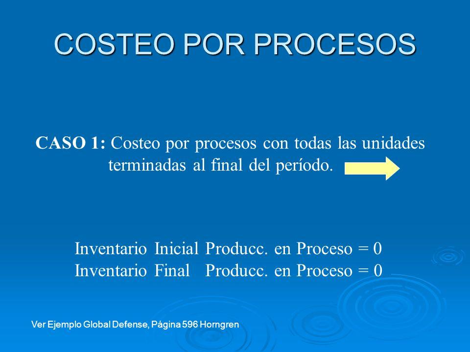 COSTEO POR PROCESOS CASO 1: Costeo por procesos con todas las unidades