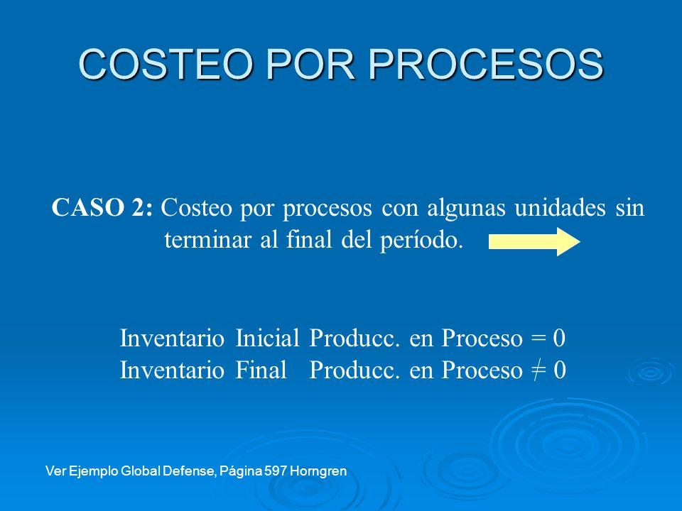 COSTEO POR PROCESOS CASO 2: Costeo por procesos con algunas unidades sin. terminar al final del período.
