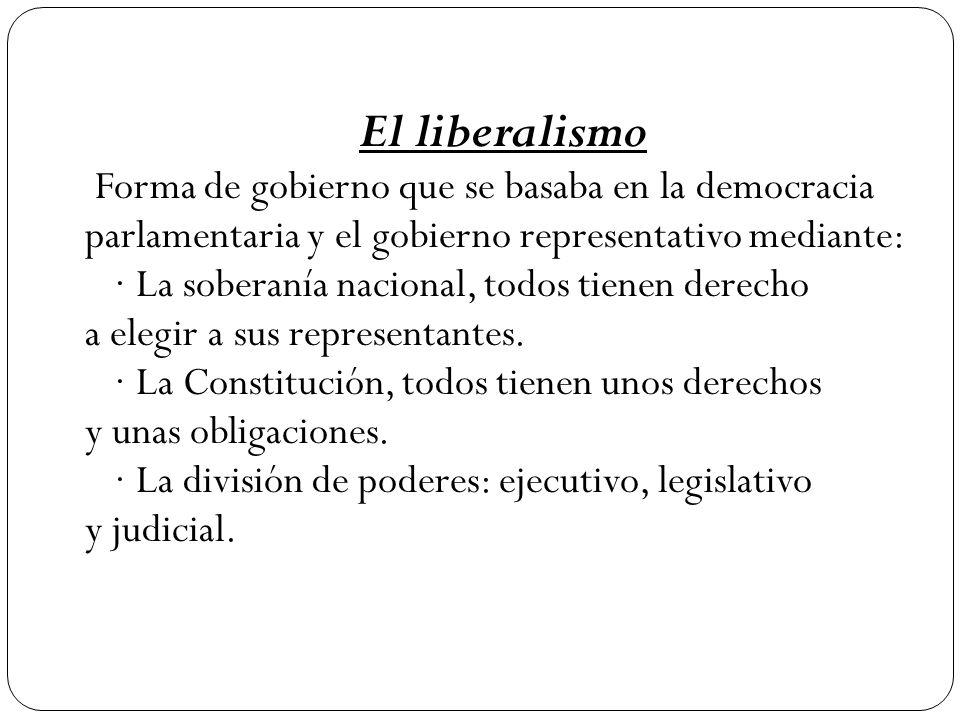 El liberalismo Forma de gobierno que se basaba en la democracia