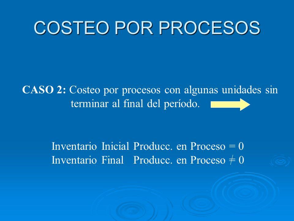 COSTEO POR PROCESOSCASO 2: Costeo por procesos con algunas unidades sin. terminar al final del período.