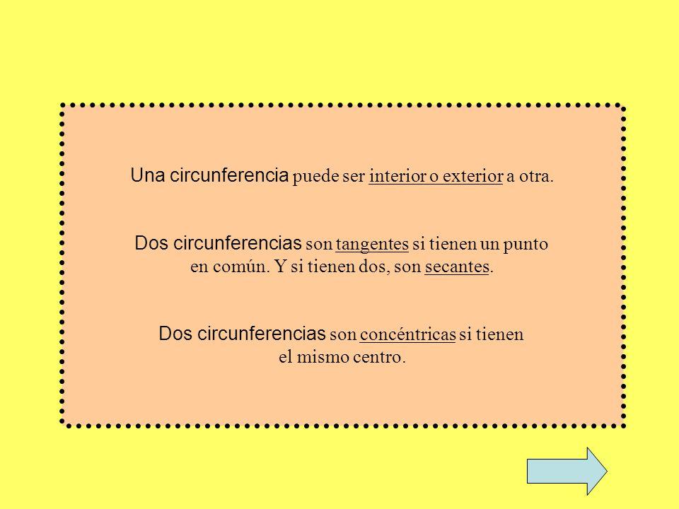 Una circunferencia puede ser interior o exterior a otra.