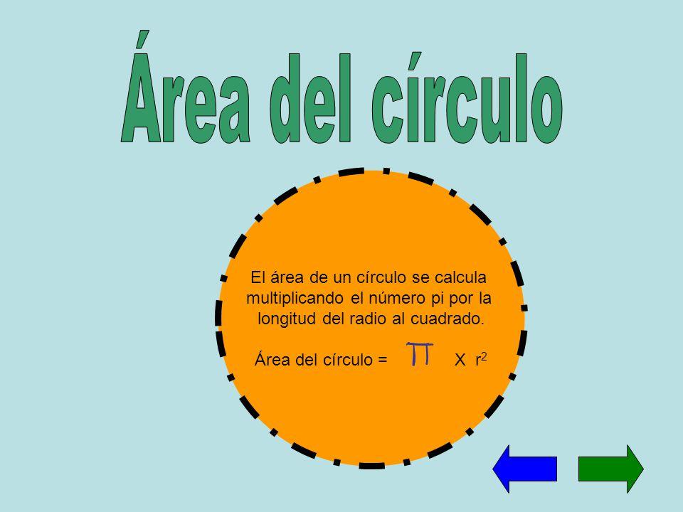 Área del círculo El área de un círculo se calcula