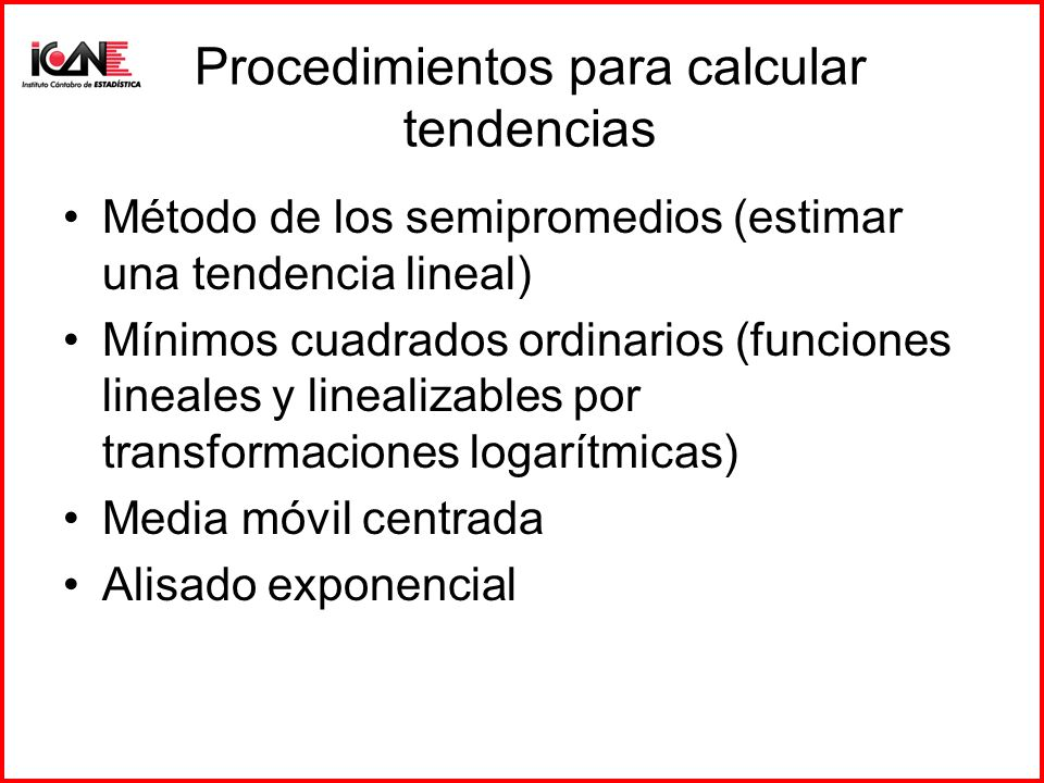 Procedimientos para calcular tendencias