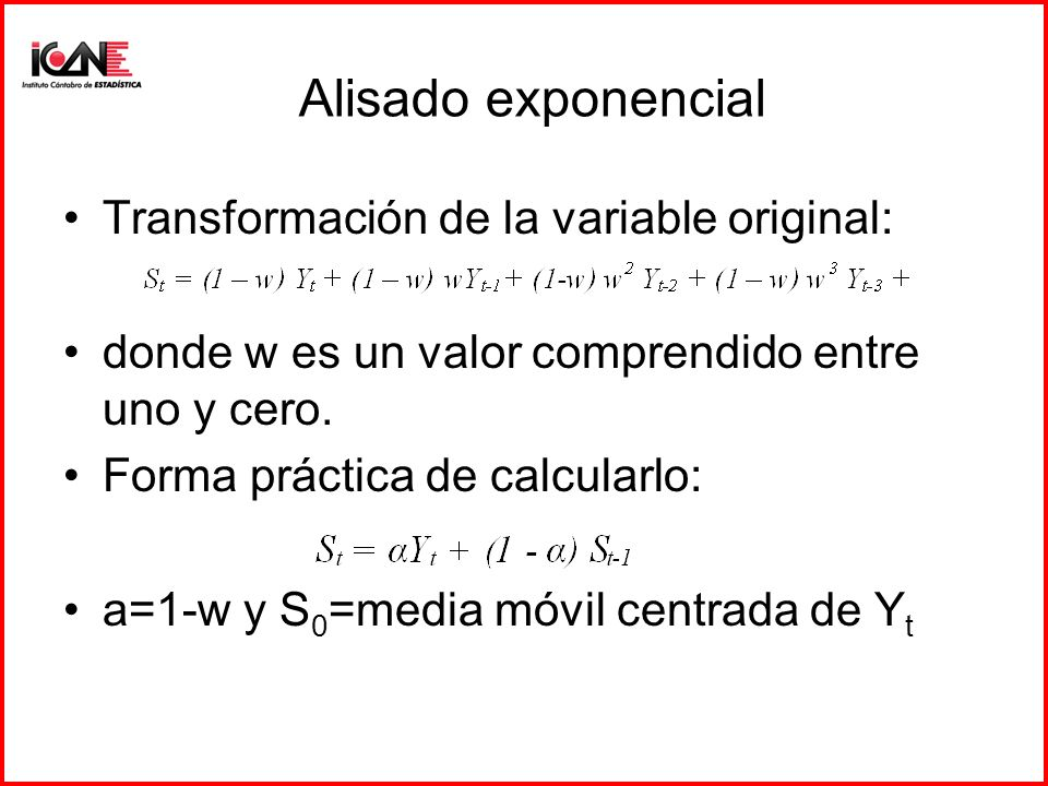 Alisado exponencial Transformación de la variable original: