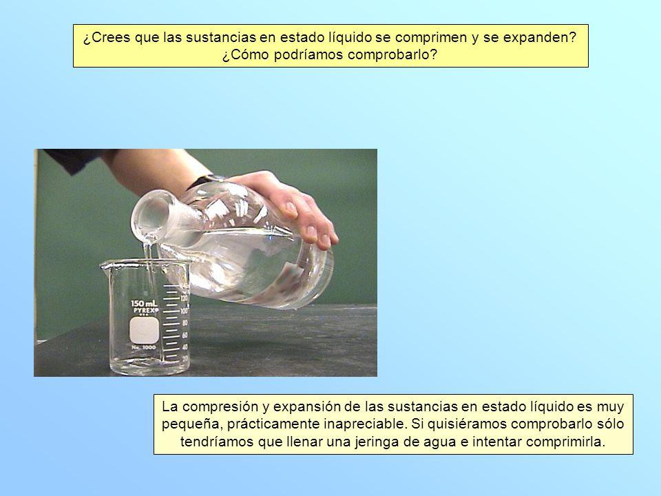 ¿Crees que las sustancias en estado líquido se comprimen y se expanden
