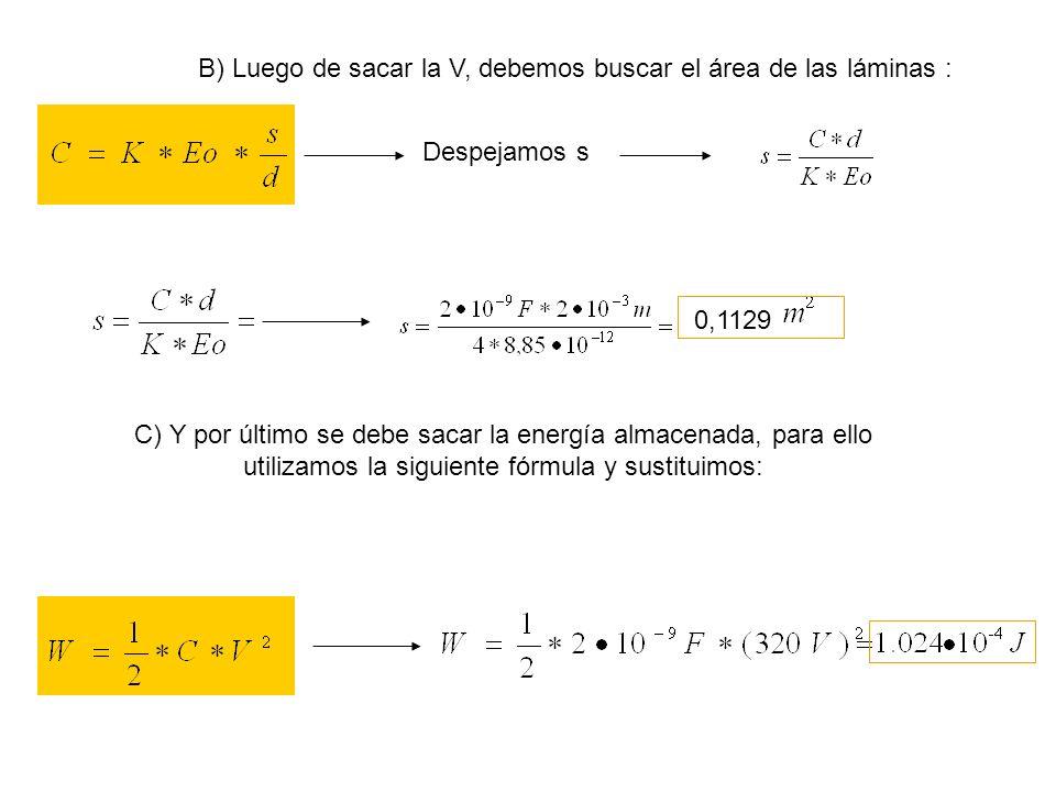 B) Luego de sacar la V, debemos buscar el área de las láminas :