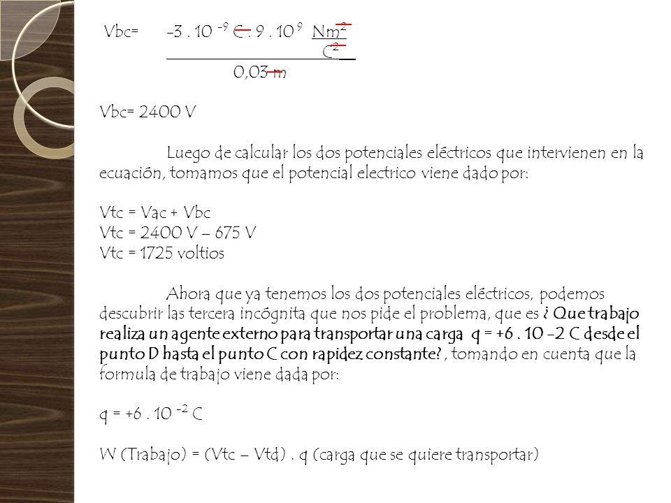 Vbc= -3 . 10 -9 C . 9 . 10 9 Nm2 C2__. 0,03 m. Vbc= 2400 V.