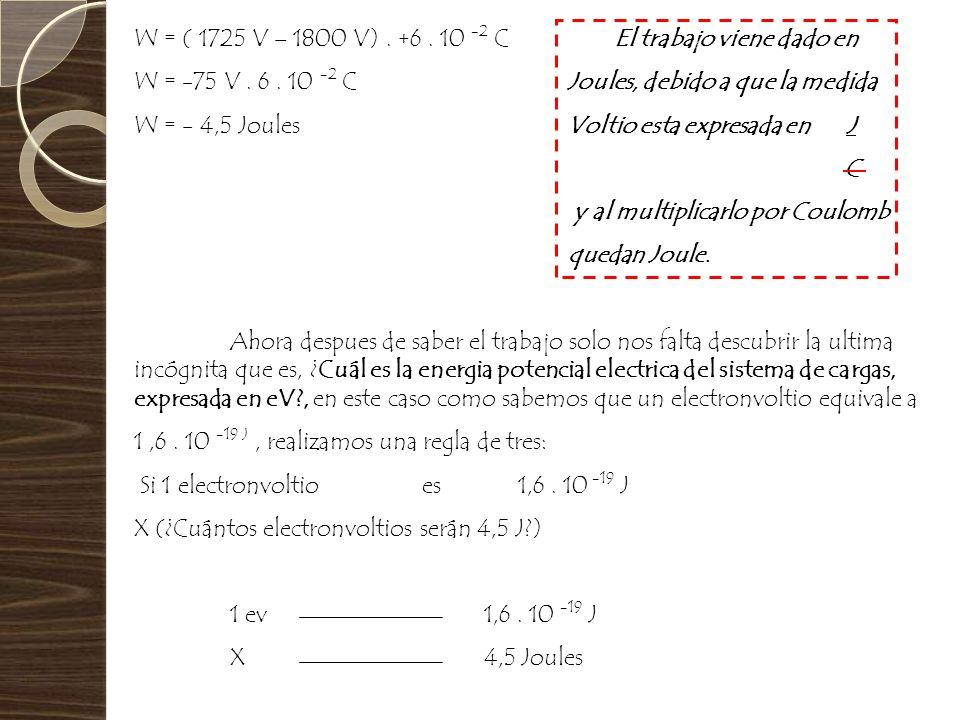 W = ( 1725 V – 1800 V) . +6 . 10 -2 C El trabajo viene dado en