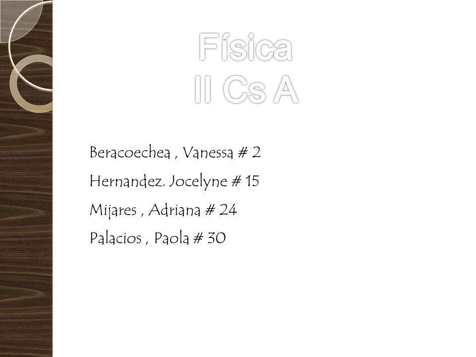 Física II Cs A Beracoechea , Vanessa # 2 Hernandez. Jocelyne # 15