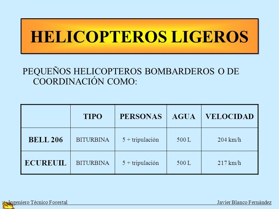 HELICOPTEROS LIGEROSPEQUEÑOS HELICOPTEROS BOMBARDEROS O DE COORDINACIÓN COMO: TIPO. PERSONAS. AGUA.