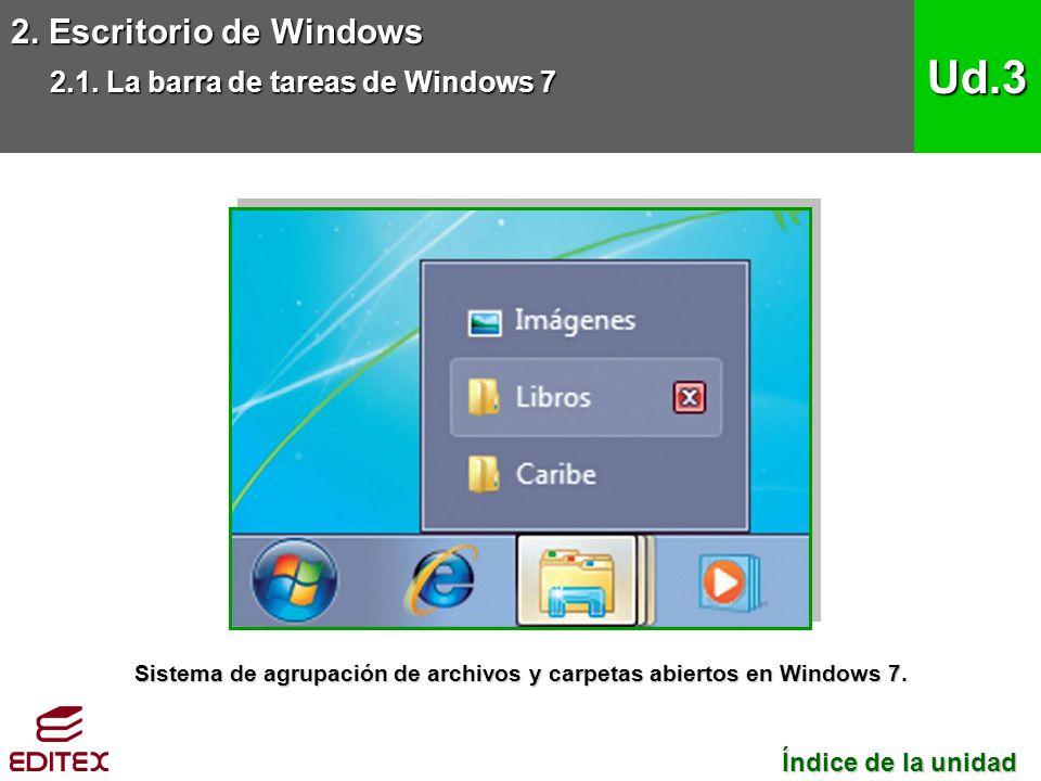 Sistema de agrupación de archivos y carpetas abiertos en Windows 7.