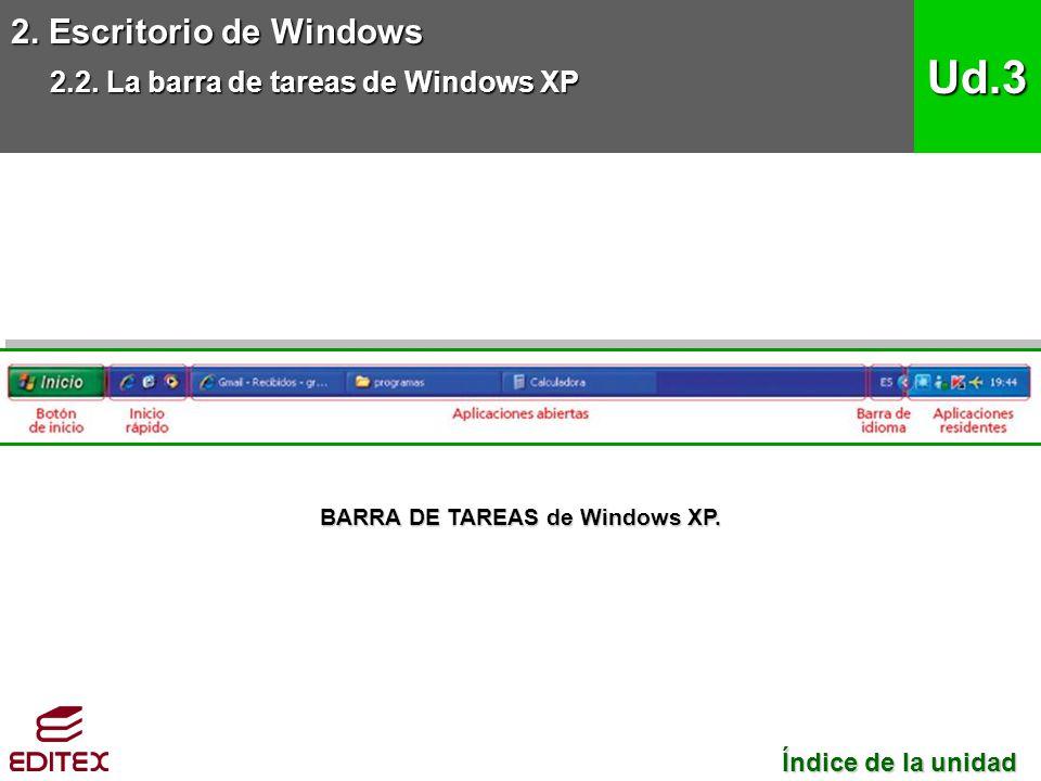 BARRA DE TAREAS de Windows XP.