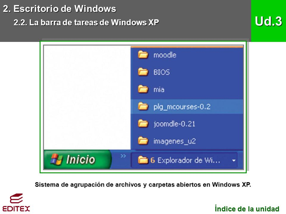 Sistema de agrupación de archivos y carpetas abiertos en Windows XP.