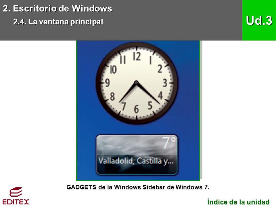 GADGETS de la Windows Sidebar de Windows 7.