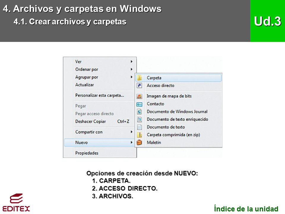 Ud.3 4. Archivos y carpetas en Windows 4.1. Crear archivos y carpetas