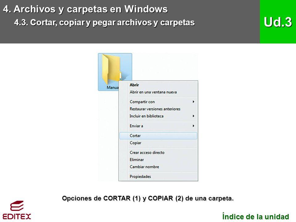 Opciones de CORTAR (1) y COPIAR (2) de una carpeta.