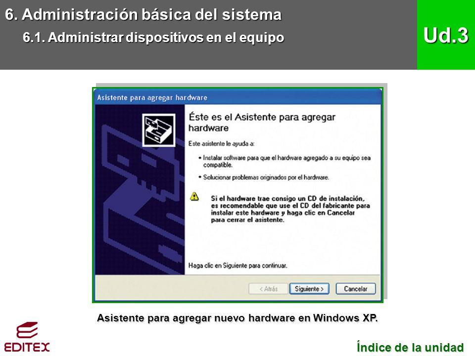 Asistente para agregar nuevo hardware en Windows XP.