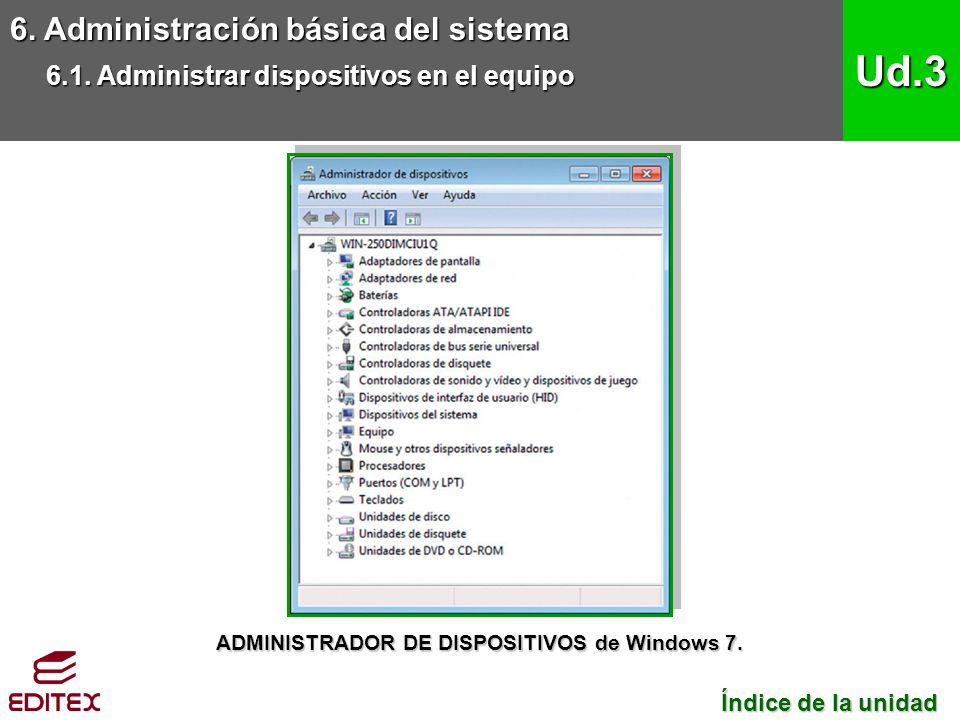 ADMINISTRADOR DE DISPOSITIVOS de Windows 7.