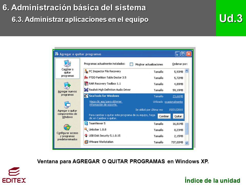 Ventana para AGREGAR O QUITAR PROGRAMAS en Windows XP.