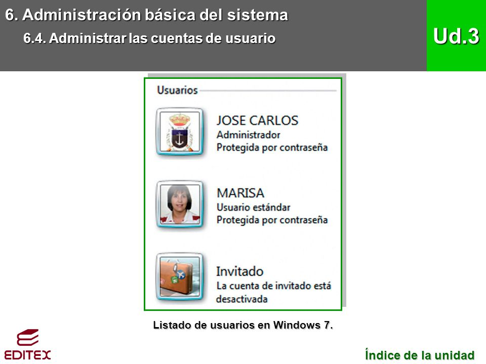 Listado de usuarios en Windows 7.
