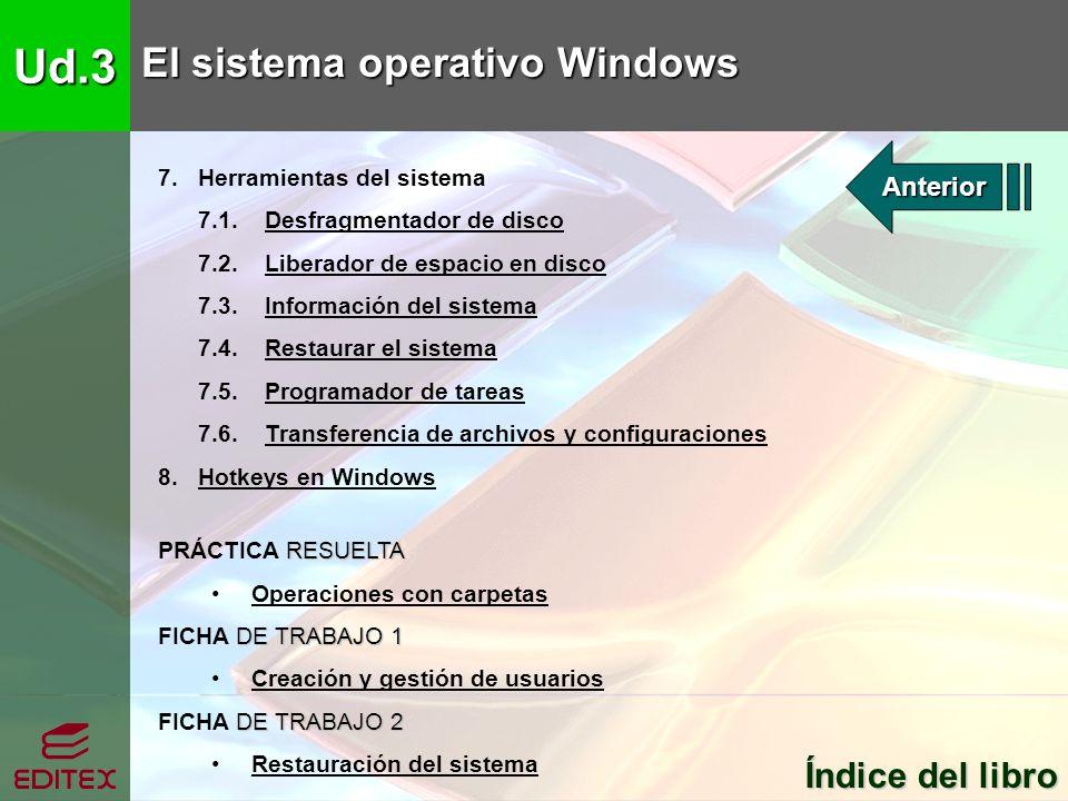 Ud.3 El sistema operativo Windows Índice del libro Anterior