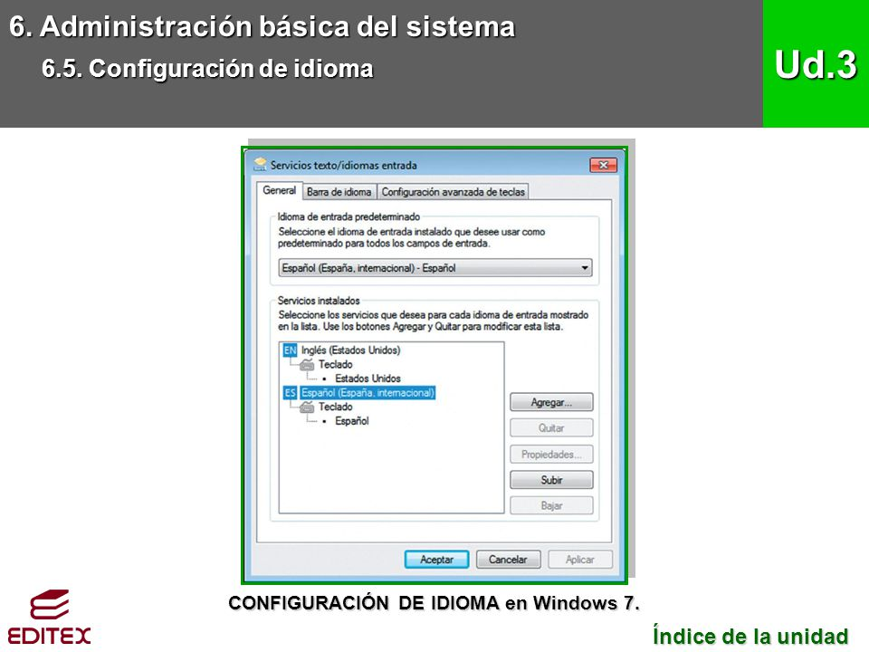 CONFIGURACIÓN DE IDIOMA en Windows 7.
