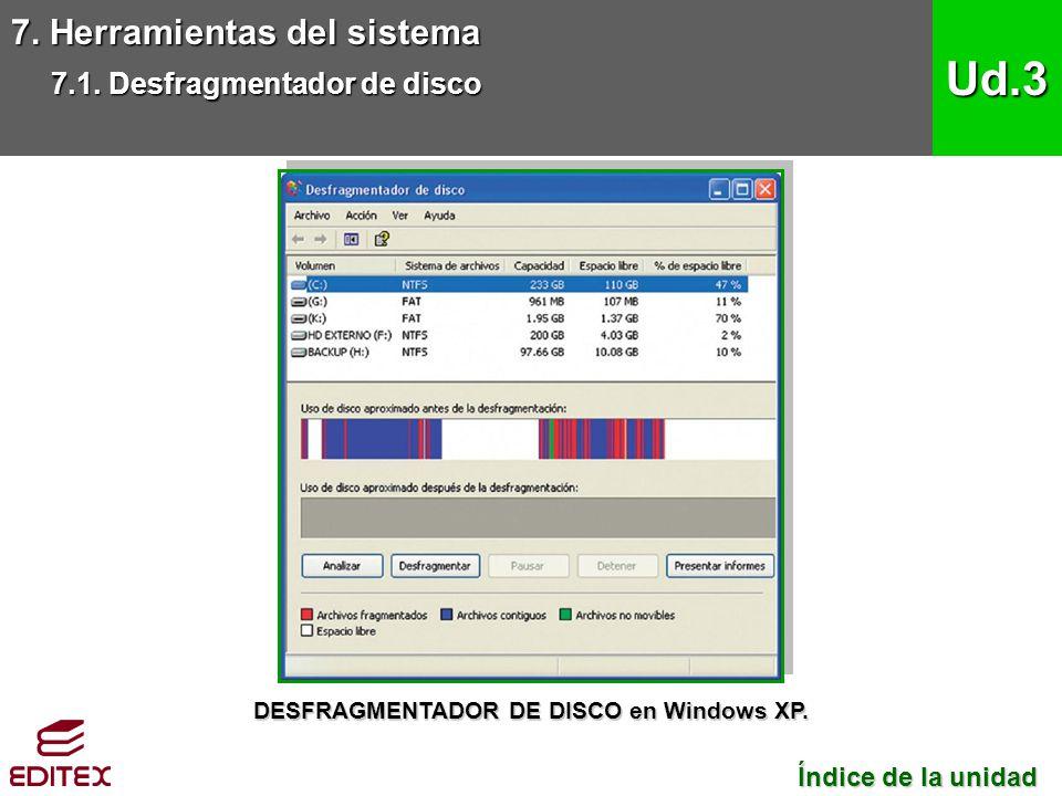 DESFRAGMENTADOR DE DISCO en Windows XP.
