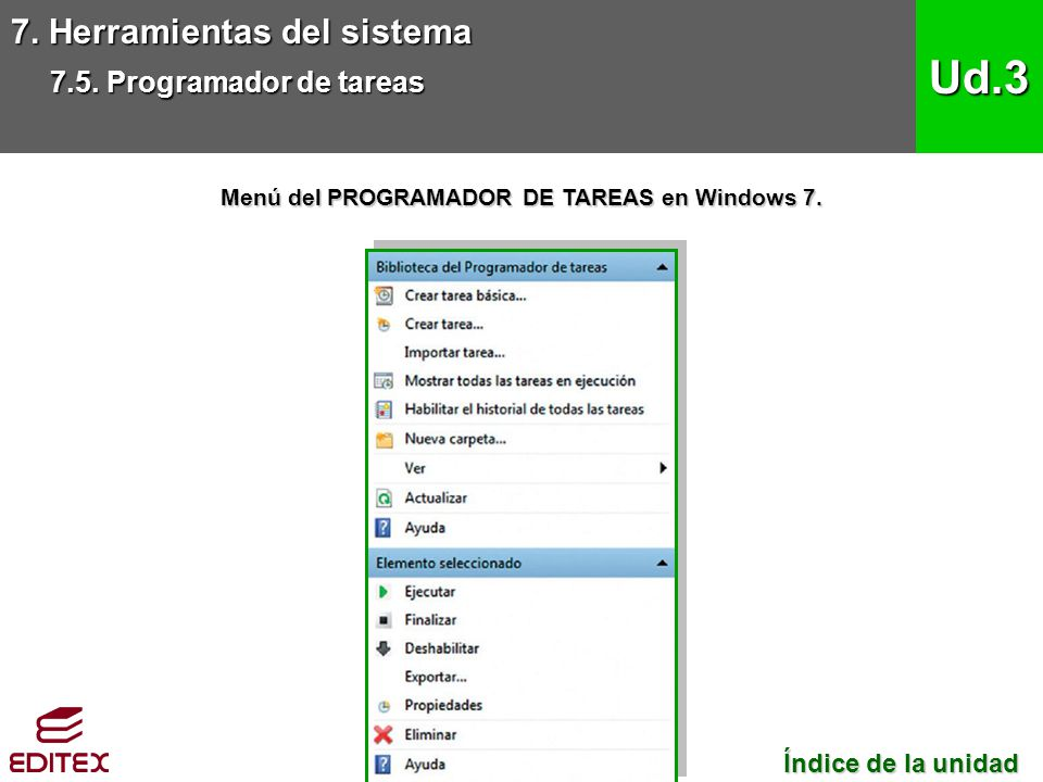 Menú del PROGRAMADOR DE TAREAS en Windows 7.