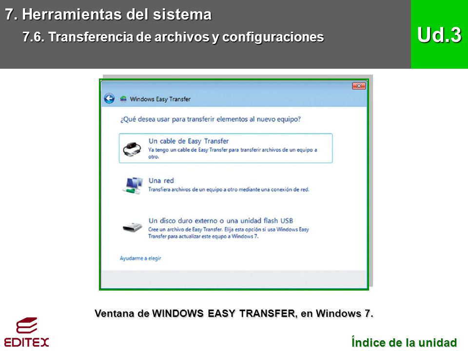 Ventana de WINDOWS EASY TRANSFER, en Windows 7.